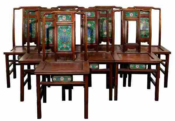 Asian Cloisonne Panel Chair Set