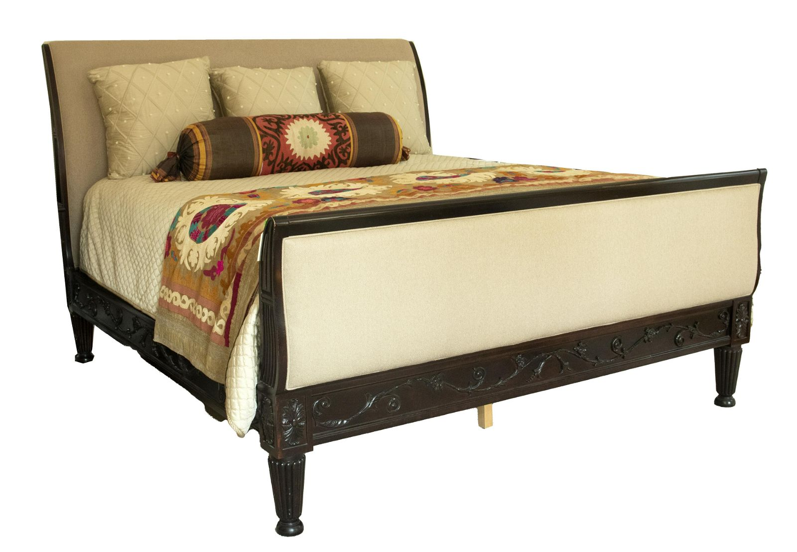 Carved Wood King Size Sleigh Bed Frame