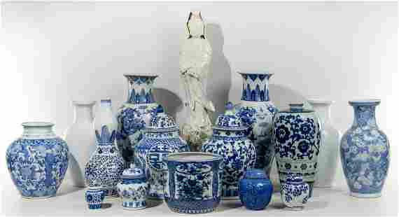 Asian Style Blue and White Porcelain Assortment