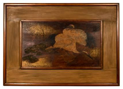 Japanese Framed Oil on Wood Panel