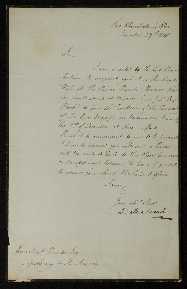 14: Lord Chamberlain's Office, Signed Letter
