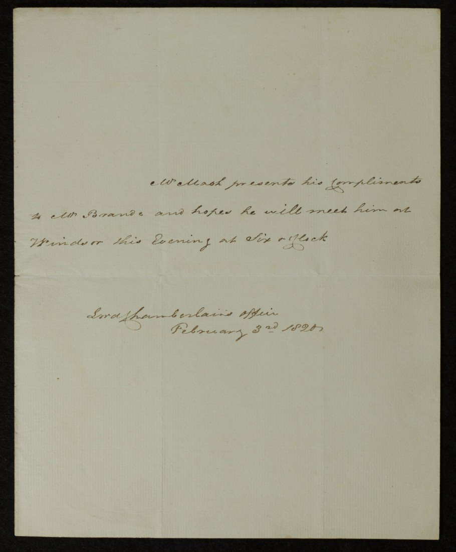 17: Lord Chamberlain's Office, Signed Letter