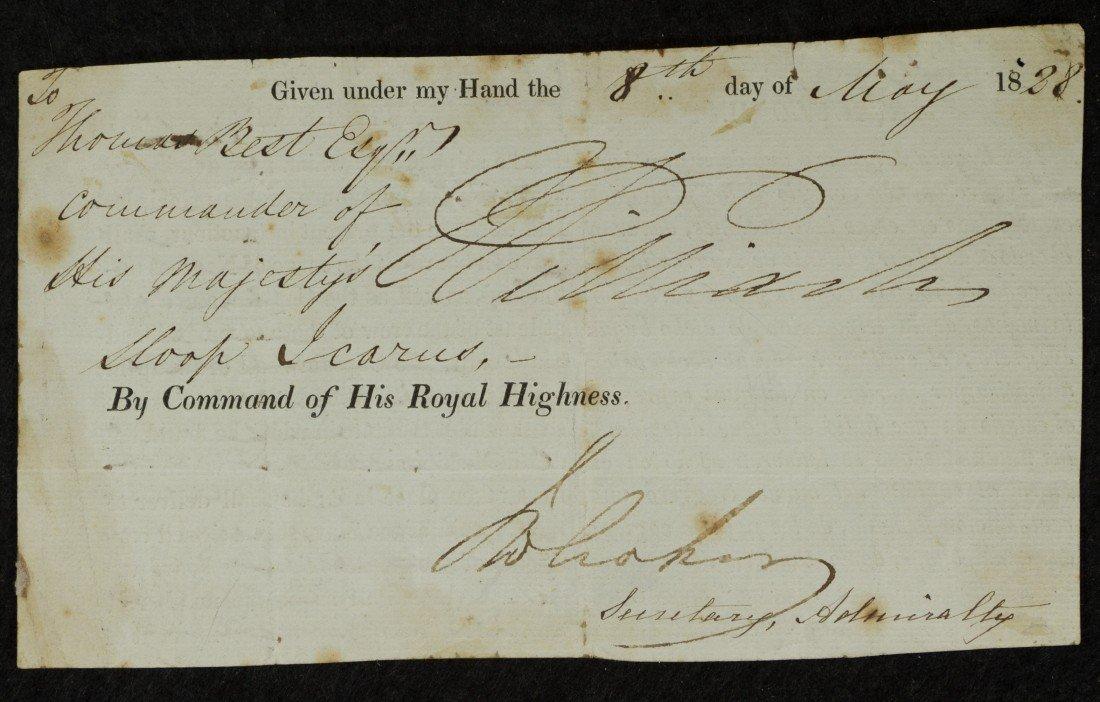 20: William IV, King of England, Signed Document