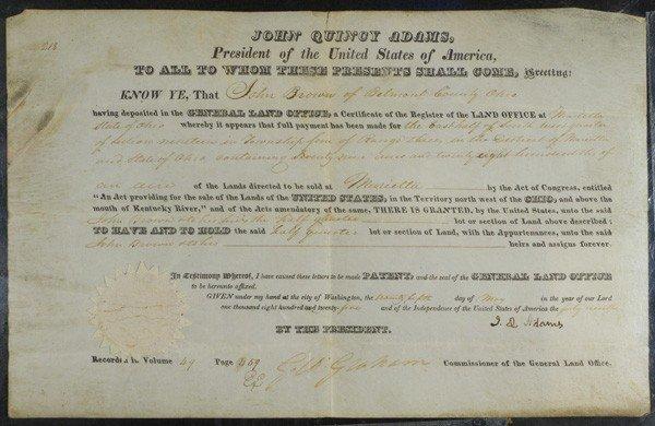 195: John Quincy Adams, President, Signed Land Grant