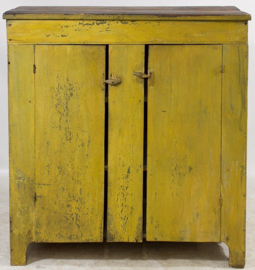 Early American Painted Pine Two Door Cupboard