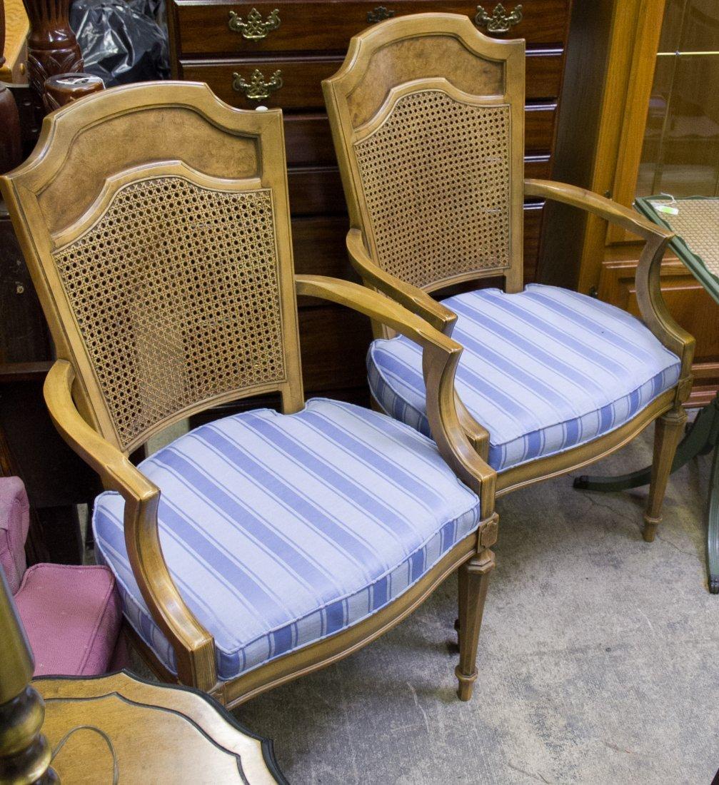 Henredon Burled Fruitwood Arm Chairs