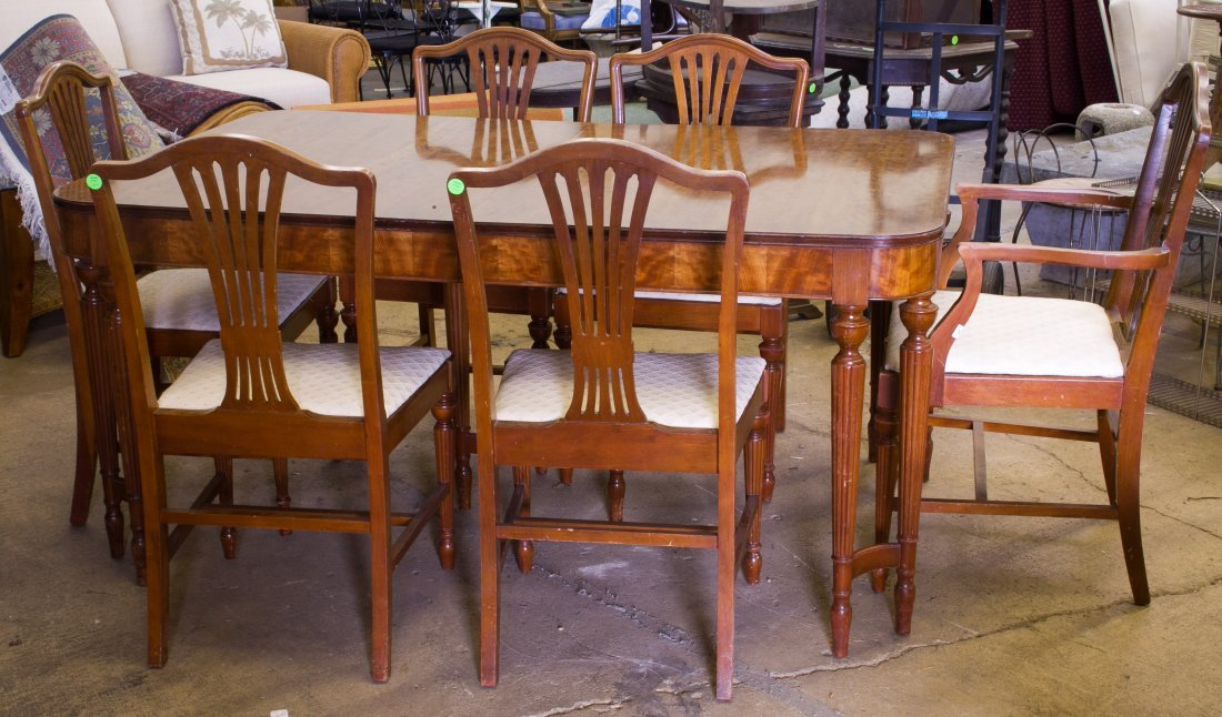 Burled Walnut Dining Table and Chairs