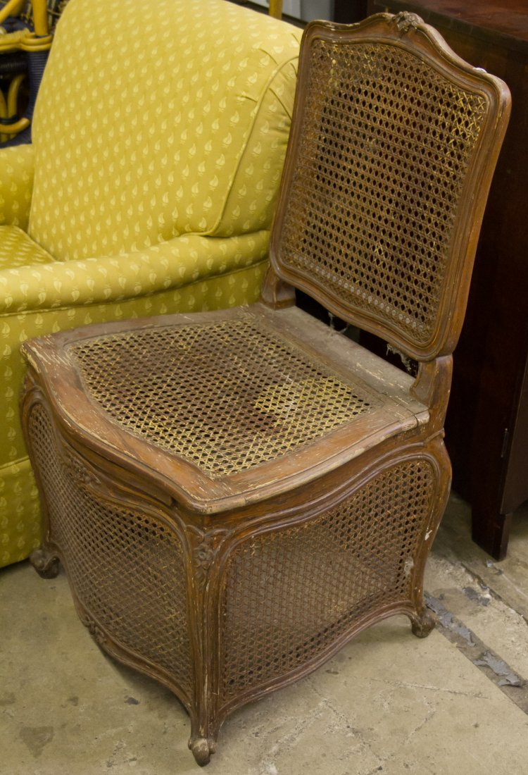 Caned and Painted Wood Outhouse Chair