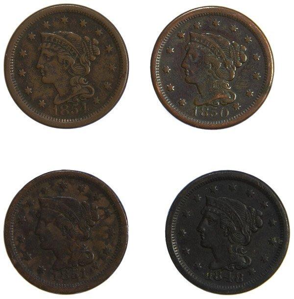 1848, 1850, 1851, 1854 1c F / XF