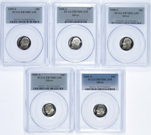 1995-S 10c PR-70 DCAM, 2005-S 10c PR-70 DCAM Silver,