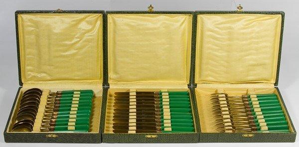 Guelon (France) Brass & Green Bakelite Handled Flatware