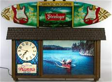 Hamms Beer Advertising Sign  Clock with Steinlager