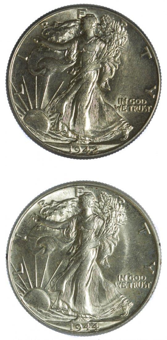 1942, 1944 50c AU+