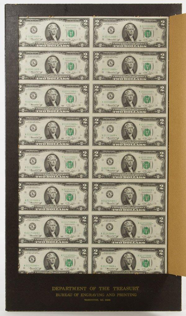 1976 $2 FRN Dallas Star Note Uncut Sheet Unc.