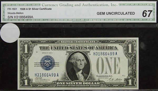1928-A $1 Silver Certificate MS-67 CGA