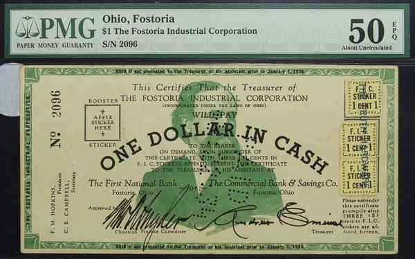 $1 Ohio, Fostoria Trading Note AU-50 EPQ PMG
