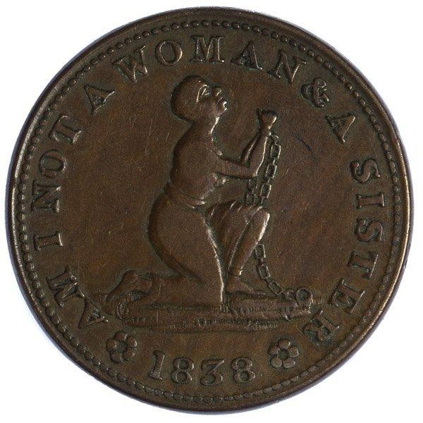 1838 Anti-Slavery / Hard Times Token VF+