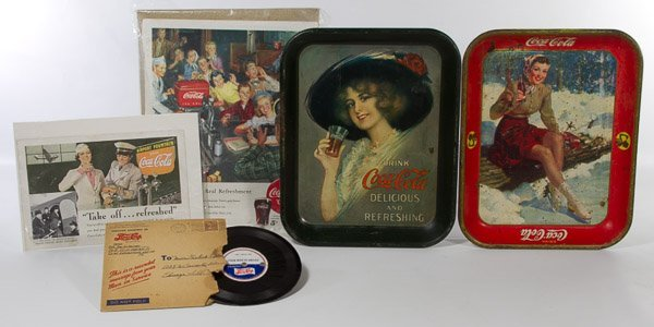 Coca-Cola Advertising Serving Tray with Female Skater