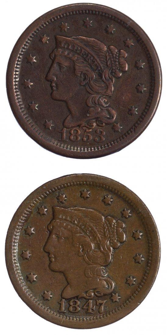 1847, 1853 1c Large Cents F/VF Details