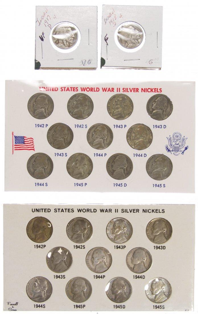 Jefferson 5c World War II Silver Nickels