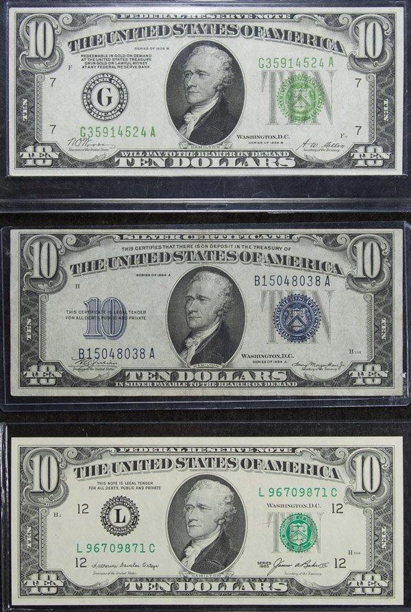 1928-B $10 FRN AU, 1934-A $10 Silver Certificate VF