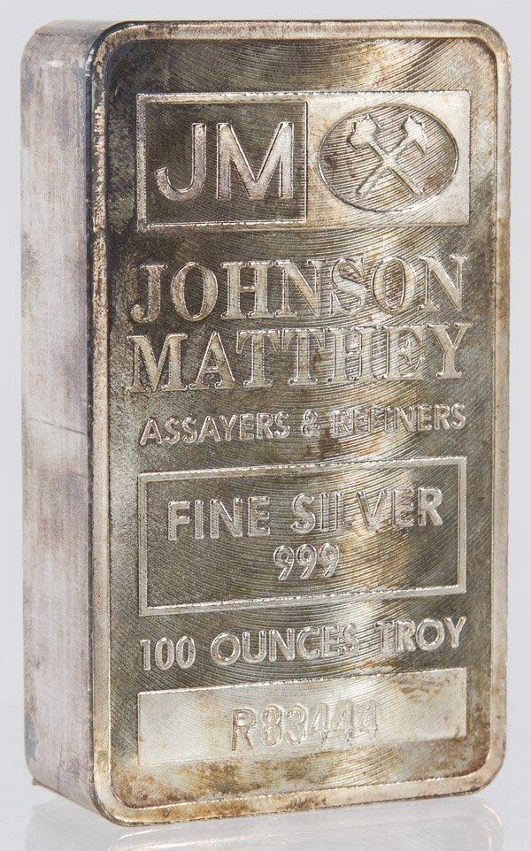 Johnson Matthey 100 Troy Ounce, .999 Fine Silver Bar