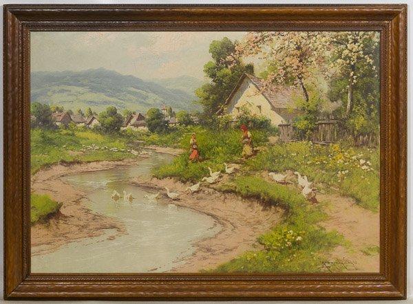 Laszlo Neogrady (Hungarian, 1896-1962) 'Ducks in Water'