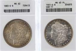 1883-O $1 MS-62, 1901-O $1 VAM-11 MS-63 PL ANACS