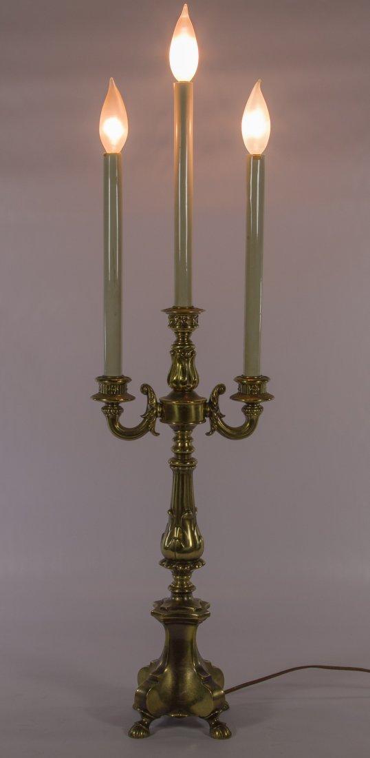 Tri-Candle Brass Lamp by Loevsky & Loevsky