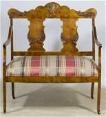 Sheraton Style Walnut Upholstered Bench