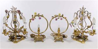 French Porcelain Floral and Brass Boudoir Lamps