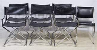Mid-Century Modern Chrome and Leather Director Chairs