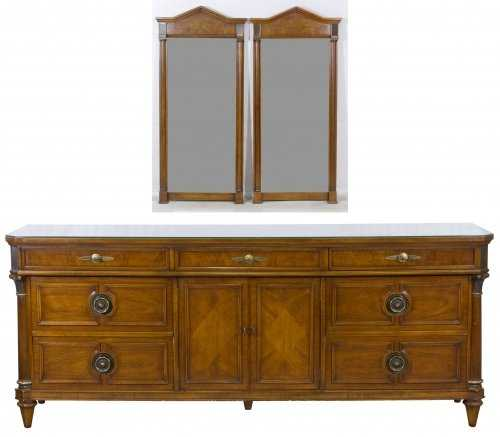 Fruitwood Dresser And Mirrors By JL Metz Furniture