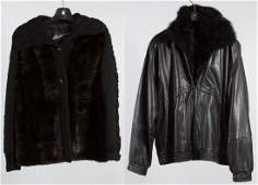 Mink Sweater and Opposum Lined Leather Jacket