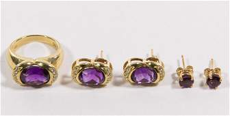 14k Gold Amethyst and Diamond Jewelry Assortment