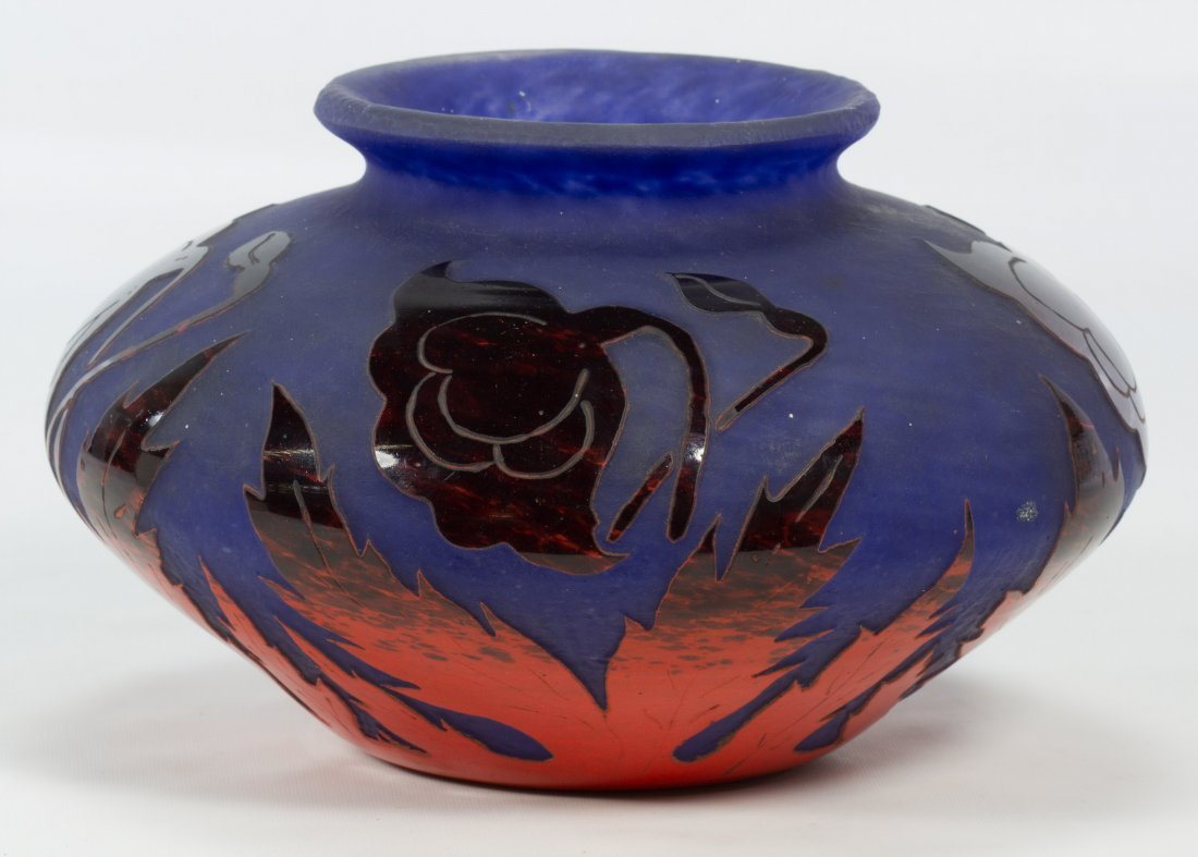 Degue Cameo French Glass Vase - 4