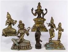 Asian Cast Metal Hindu God Statue Assortment
