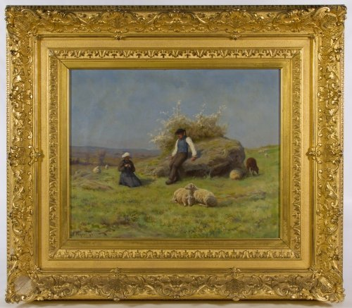 Rene Peyrol (French, 1860-1899) 'Springtime Shepherds'