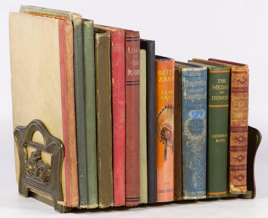 Children's Books and Cast Metal Book Rack