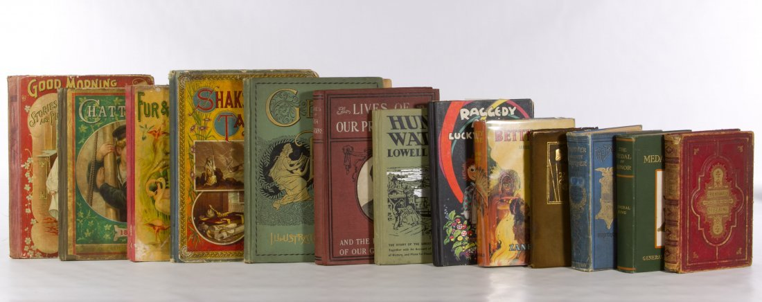 Children's Books and Cast Metal Book Rack - 2