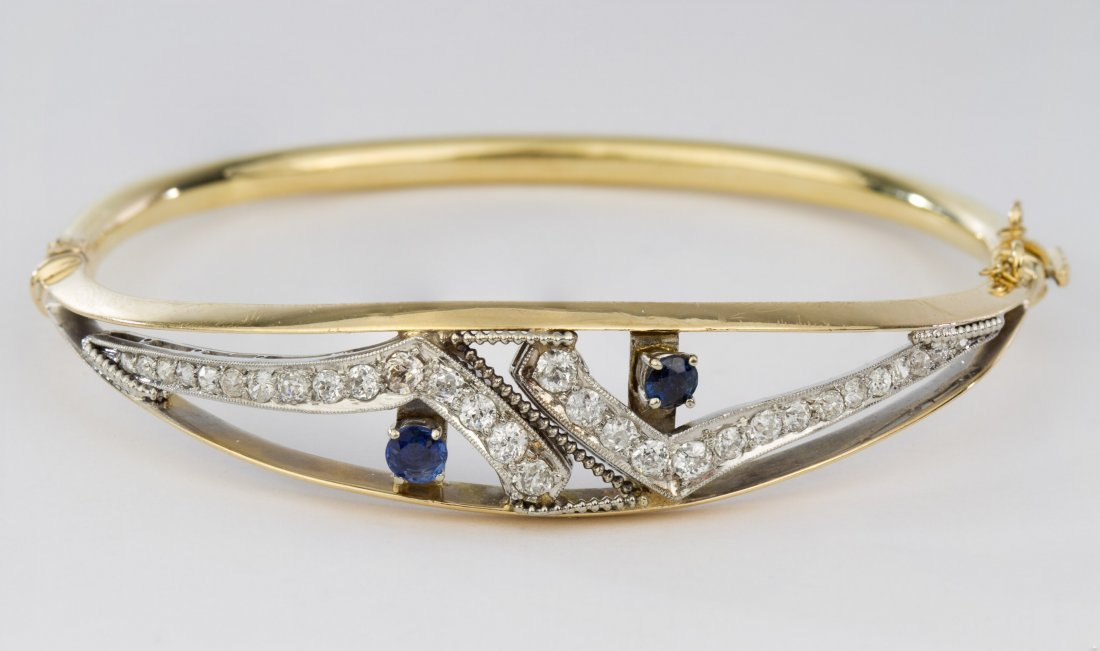14k White and Yellow Gold, Sapphire and Diamond