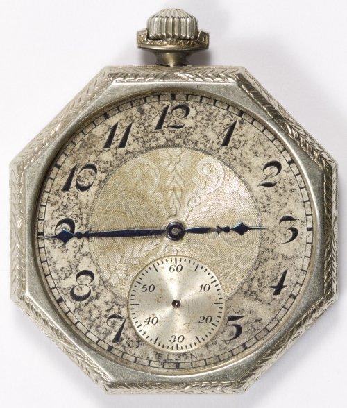Elgin 14k White Gold Open Face Case Pocket Watch