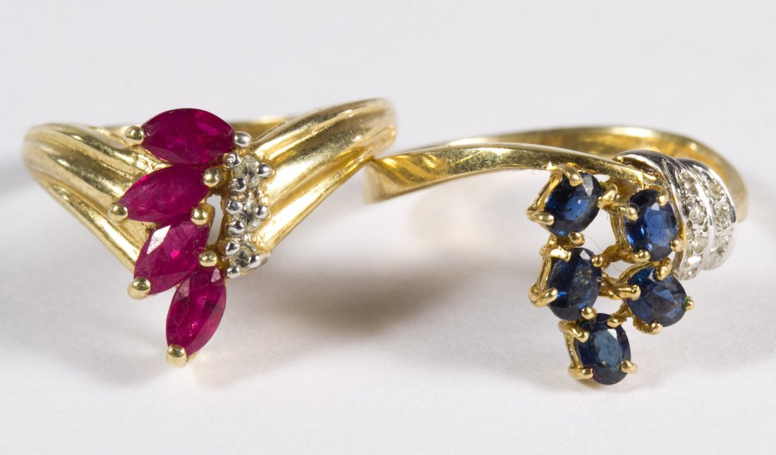 14k Gold, Ruby, Sapphire and Diamond Rings