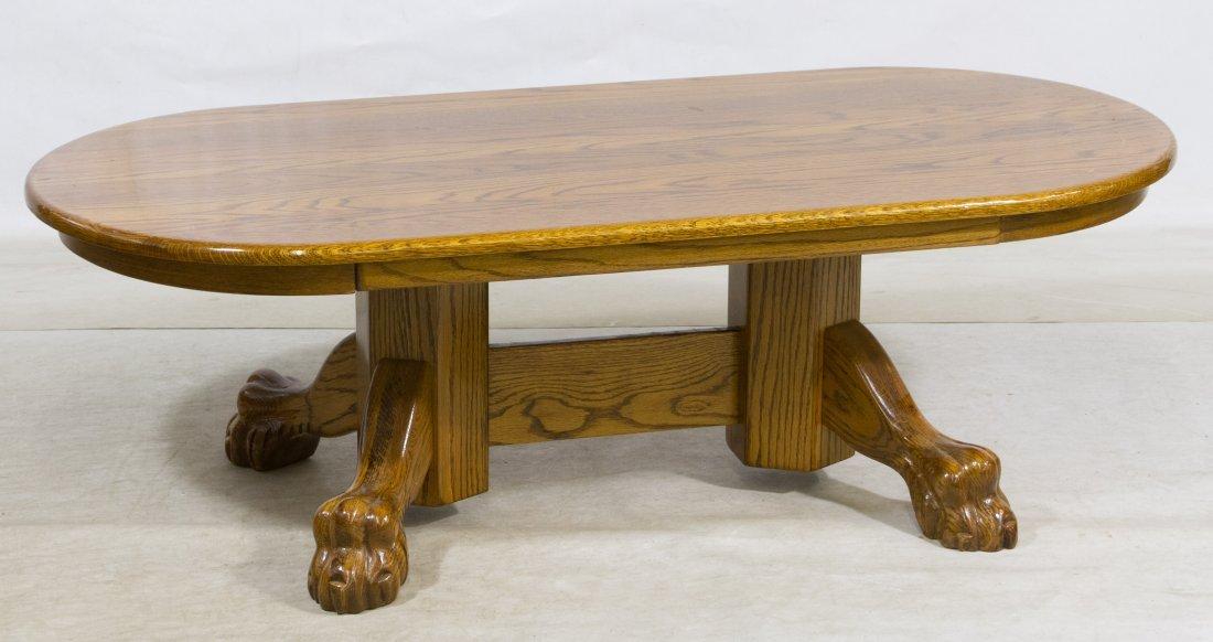 Oak Claw Foot Oval Coffee Table Lot 0051