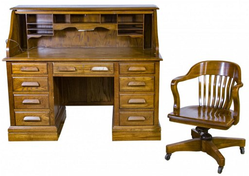 Magnificent Oak Roll Top Desk And Chair By Jasper Cabinet Company Dailytribune Chair Design For Home Dailytribuneorg