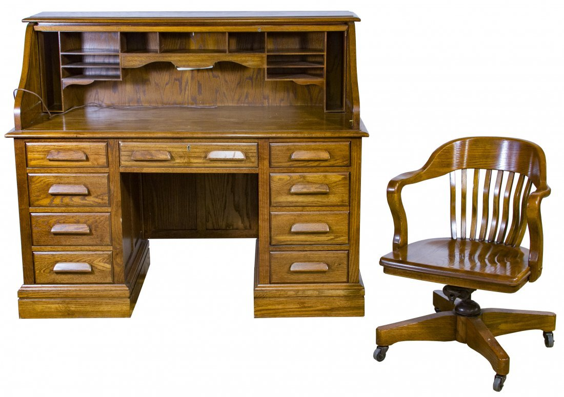 Oak Roll Top Desk And Chair By Jasper Cabinet Company