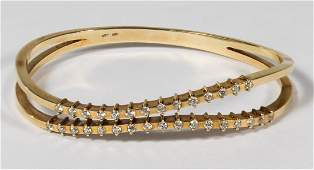 14k Gold and Diamond Hinged Cuff Bracelet