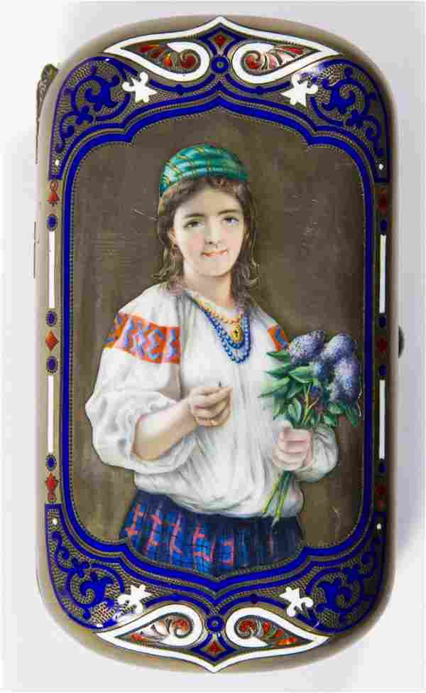 Russian Sterling Silver (.916) and Enamel Cigarette