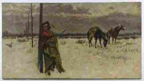 Unknown Artist (20th Century) 'American Indian' Oil on