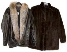 Mink Tail Coat and Leather Coat with Fox Fur Collar